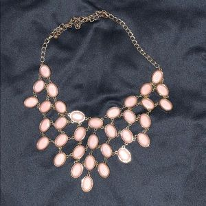 Pink and gold statement necklace